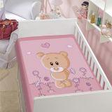Cobertor Infantil Ursinho com Flor - Jolitex-Rosa