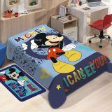 Cobertor Juvenil Poliéster Disney Mickey Azul