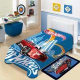 Cobertor Juvenil Poliéster Mattel Hot Wheels Azul