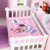 Cobertor de Bebê Turma da Mônica Baby Dormindo - Jolitex-Rosa