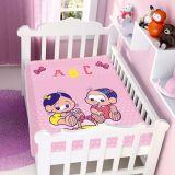 Cobertor de Bebê Turma da Mônica Baby Mônica e Magali - Jolitex-Rosa