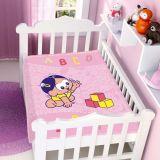 Cobertor de Bebê Turma da Mônica Baby Magali Brincando - Jolitex-Rosa
