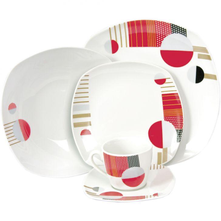 Jogo de Jantar Quadrado Colorido I Porcelana 20 pçs