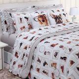 Jogo de cama Queen Size Innovi Dogs 150 fios 100% algodão Kacyumara