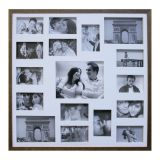 Painel de Fotos Bee Collection 73X73 Rustics 14 Fotos 10X15 e 2 Fotos 15X21 Imbuia Kapos