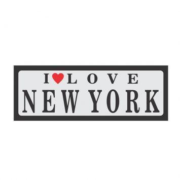 Placa decorativa I love New York 10x30 cm Preto Kapos 66246
