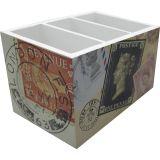 Porta Controle com 3 Divisões - Post Office 8 x 14 cm Bege e Branco