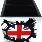 Porta Controle com Cinco Divisões London 10 x 22 cm Branco e Preto