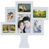 Porta-Retrato de Parede Árvore da Família 5 Fotos 10x15cm e 1 Foto 15x21cm  51x52cm Branco Kapos