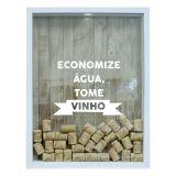 Quadro Porta Rolhas De Vinho Economize Água Branco