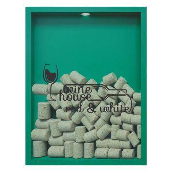 Quadro Porta Rolhas de Vinho Wine House 32x42x4cm Verde Kapos 65377