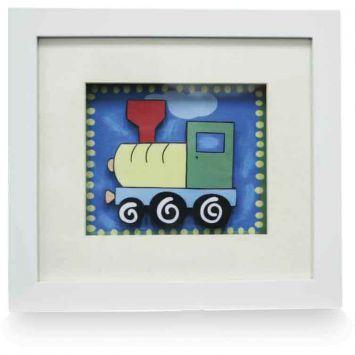 Quadro decorativo Infatil Trem 20x22 Branco Kapos Infatil Trem