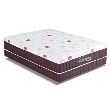 Cama Box Conjugado Unique Casal Mola Verticoil Branco e Marrom Kappesberg CBV001 - 138 - 059