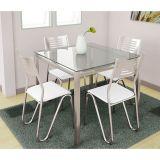 Conjunto de Mesa e 4 Cadeiras Branco Reno com Nápolis Kappesberg