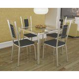 Conjunto de Mesa e 4 Cadeiras Preto Reno com Florença Kappesberg