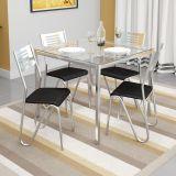 Conjunto de Mesa e 4 Cadeiras Preto Reno com Nápolis Kappesberg