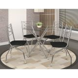 Conjunto de Mesa e 4 Cadeiras Preto Volga com Itália Nápolis Kappesberg