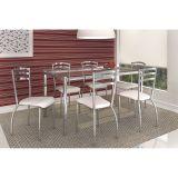 Conjunto de Mesa e 6 Cadeiras Branco Elba com Portugal Kappesberg