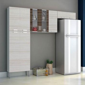 Cozinha Compacta Alfa Top 9 Portas Branco Com Rovere E Dubai Kit ´ S Paraná Kit ´ s Paraná COZINHA ALFA TOP