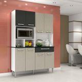 Kit de Cozinha Gales 8 PT 1 GV MDP Linho Cinza & Linho Preto