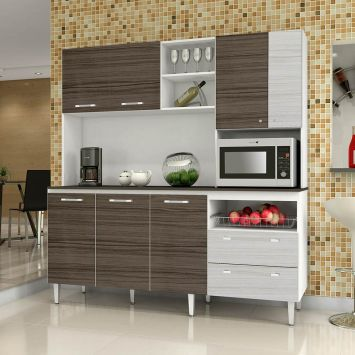 Kit de Cozinha Jade C / Tampo 7 PT 2 GAV Branco Com Dubai E Rovere Kit ´ S Paraná Kit ´ s Paraná COZINHA JADE C / TAMPO