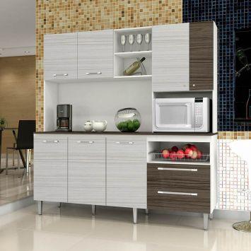 Kit de Cozinha Jade C / Tampo 7 PT 2 GAV Branco Com Rovere E Dubai Kit ´ S Paraná Kit ´ s Paraná COZINHA JADE C / TAMPO