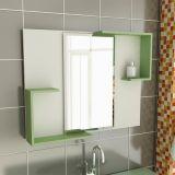 Espelheira de Banheiro Retangular 80 cm Branco & Verde