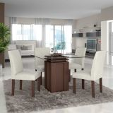 Conjunto de Mesa 1,00x1,00 e Cadeiras de Jantar Imbuia Lankaster LJ Móveis
