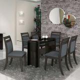 Conjunto de Mesa 1,70x80 e Cadeiras de Jantar Gris & Preto Suprema LJ Móveis