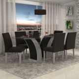Conjunto de Mesa 1,70x90 e Cadeiras de Jantar Carvalho & Preto Granda LJ Móveis