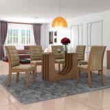 Conjunto de Mesa 1,70x90 e Cadeiras de Jantar Castanho Dunnas LJ Móveis