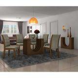 Conjunto de Mesa 1,70x90 e Cadeiras de Jantar mais Aparador Malbeck Dunnas LJ Móveis