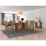 Conjunto de Mesa 1,90x90 e Cadeiras de Jantar mais Aparador Castanho Dunnas LJ Móveis