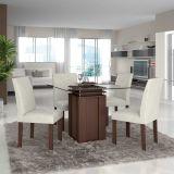 Conjunto de Mesa e Cadeiras de Jantar Imbuia Lankaster LJ Móveis