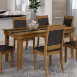 Mesa de Jantar Avulsa Retangular Futura 1,50 MDF Amendoa e Preto L.J. Móveis