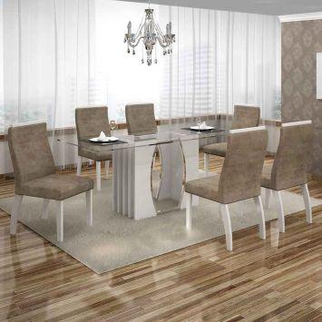 Conjunto de Mesa Euro com 6 Cadeiras Branco e Cappuccino 180cm Leifer Euro