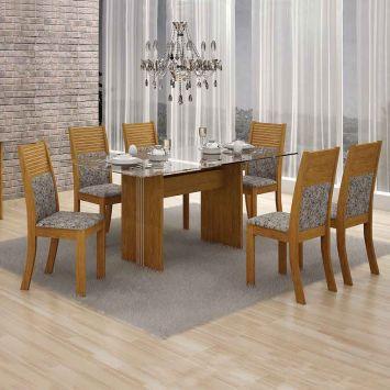 Conjunto de Mesa Hawai com 6 Cadeiras Imbuia Mel e Cinza 160cm Leifer Hawai