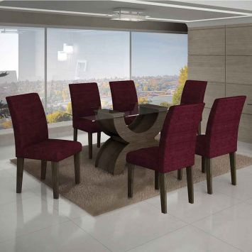 Conjunto de Mesa Olimpia II com 6 Cadeiras Malbec e Vinho 180cm Leifer Olimpia