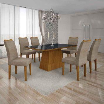 Conjunto de Mesa Pampulha III com 6 Cadeiras Imbuia Mel e Bege 180cm Leifer Pampulha