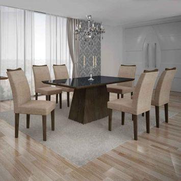 Conjunto de Mesa Pampulha IV com 6 Cadeiras Malbec e Bege 180cm Leifer Pampulha