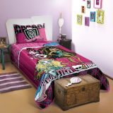 Colcha Monster High Pink & Preto 150x210cm Lepper
