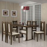 Conjunto de Mesa e 6 Cadeiras Viva Retangular Marrom