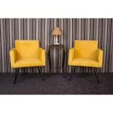 Jogo com 2 Poltronas Decorativas para Sala de Estar Quadrada Amarela - Lopes