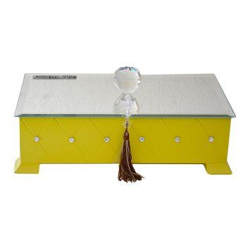 Caixa Madeira Laca Amarela Espelho Bisote Bola Cristal Strass Swarovski 7x30x15 m collection Luca Millani 138G.
