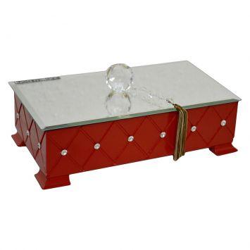 Caixa Madeira Laca Vermelho Espelho Bisote Bola Cristal Strass Swarovski 7x30x15 m collection Luca Millani 138G.