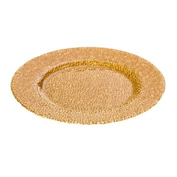 Sousplat De Vidro 33Cm Glamour Dourado Lyor 5019