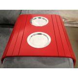 Esteira para Sofá com Porta Copos Alumínio Alto Brilho Bandeja Flexível - Vermelho