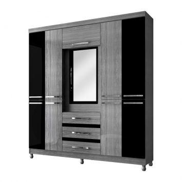 Guarda - Roupa Casal com Espelho Fusion Casal 10PT 3GV Platina e Preto Móveis Albatroz Fusion