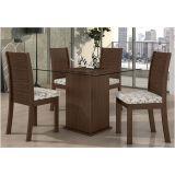 Conjunto Sala de Jantar Mesa Caribe e 04 Cadeiras FLorença Imbuia Touch com Jacar Ébano