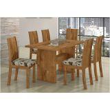 Sala de Jantar com Mesa Sâmara e 04 Cadeiras Florença Rovere Soft com Jacar Bianco Imbuia